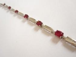 8 extra nagy, különlegesen tiszta, természetes vörös rubin köves ezüst karkötő
