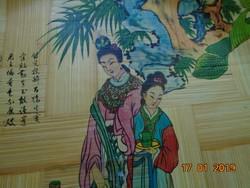 Kézzel festett kínai lakkozott bambusz dísztálca-32,7 cm