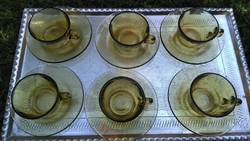 Retro, színes kávés üvegpohár készlet
