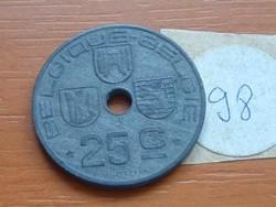 BELGIUM BELGIQUE - BELGIE 25 CENTIMES 1946 WW II CINK 98.