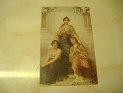 A három grácia,  antik postatiszta képeslap.