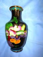 20 cm Tűz zománc-Rekesz zománc (Cloissoné)  váza RITKA gyümölcs minta