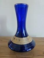 Gyönyörű aranyozott kék üveg váza