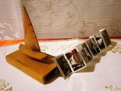 Retro fa Balaton vitorlás talpából kihúzható 10 db fekete fehér képpel