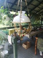 Majolika lüszter lámpa, antik petróleumlámpa