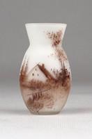 0X674 Antik kétrétegű tájképes francia üveg váza