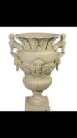 Klasszicista Öntött vas fehér váza -kerti -beltéri