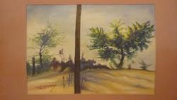 """Sólyom Zoltán:Akvarell,:""""Középen fa"""""""