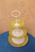 Retro Csehszlovák porcelán emeletes kínáló eredeti dobozában, Soha nem használt!