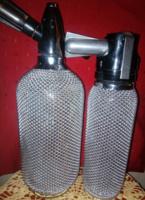 2 db Retro fém hálós üveg szódásszifon és habszifon