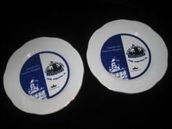 Zsolnay  emlék tányér pár   , 166  mm   ,