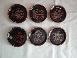 6 db kerámia tálka, poháralátét, gyűrű tálka 8 cm átmérőjűek