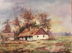 Simon Zoltán gyönyörű színekkel megfestett tanya világ festménye 2015-ből