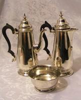 Ritka, jelzett, antik, ezüstözött, szép állapotú, teás és kávés kanna, hozzá illő cukortartóval