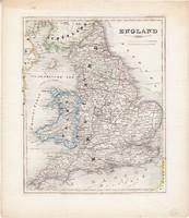 Anglia térkép 1850, eredeti, német, atlasz, 27 x 32 cm, Nagy - Britannia, Skócia, Wales, észak, brit