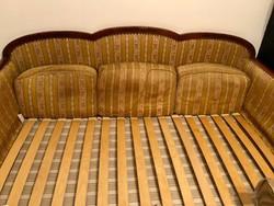 Biedermeier intarziás antik heverő ágyneműtartóval