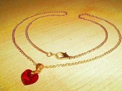 Rubintos Szív ezüst - 18k Arany Medál + Ajándék nyaklánc