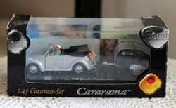 VW Beetle Cabriolet Caravan-Set modell makett autó 1:43