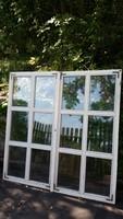 Valódi tömör tölgyfa kétszárnyas ablakok hőszigetelt üveggel, tok nélkül bontásból