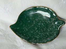 Bavaria zöld kerámia levél, asztalközép, dísztárgy