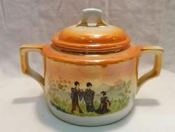 Zsolnay porcelán Japán mintás sárga cukortartó