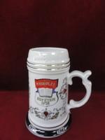 Hollóházi porcelán sörös korsó, a Miskolci Nehézipari Egyetem 1992-es találkozójának emlékére.
