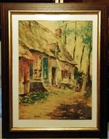 A régi ház körül ( 30 x 40,  jelzett - 1954, régi akvarell, gyönyörű keretben )