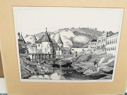 Molnár Gabriella rézkarca: Császár malom Budán 1856