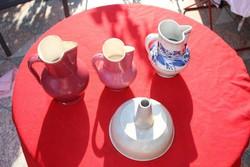 4db antik zsolnay dísztárgy rózsaszín és szürke mázas kerámia