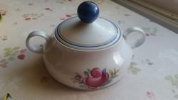Régi jelzett német, rózsás porcelán leveses tál eladó!