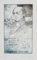 Kass János - Paracelsus 19 x 11 cm színezett rézkarc