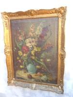 Antik, nagyméretű, művészi virágcsendélet, számomra olvashatatlan szignóval. Szép keretben.