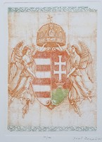 Gaal Domokos - Címer 25 x 19 cm színezett rézkarc