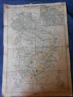 Pest-Pilis-Solt-Kiskun vármegye térkép, 1919-ből. Nagyméretű.Magyar Földrajzi Intézet nyomása
