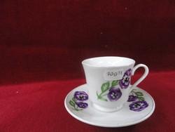 LINTON porcelán Shanghai, kávéscsésze + alátét, arany szegéllyel, lila virággal.