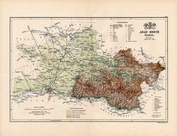 Arad megye térkép 1888, Magyarország, vármegye, atlasz, Kogutowicz Manó, 43 x 56 cm, eredeti, régi