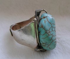 Antik Art deco, hatalmas ezüst türkiz köves ötvös gyűrű