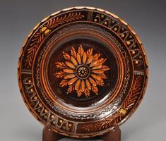 Teimel Óbánya falitányér. Ritka szép barna szinű. 25,5cm