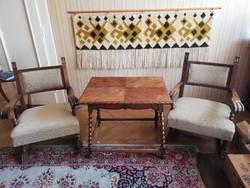 Koloniál dohányzó asztal 2 db fotel 3 db-s garnitúra tökéletes állapotban