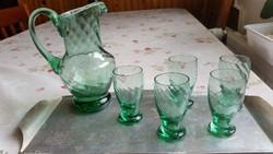 Csodaszép, zöld, muranói italos készlet, formás kancsóval eladó!