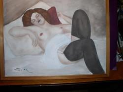 Fried Pál akt, karton tempera-pasztell 40 x 50 cm plexi mögött tartókeretben