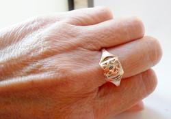 Gyönyörű régi virág motívumos 14kt orosz arany gyűrű 66-os méret