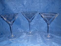 Talpas kristály pezsgős pohár 3 db (7/K)
