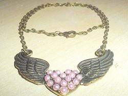 Rózsaszínű gyöngy Szív -Angyalszárny Nyakék