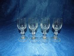 Retro talpas röviditalos kristály üveg pohár készlet 4 db (14/K)