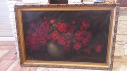 Nagyméretű régi , piros aláírásos virágcsendélet festmény olaj-vászon