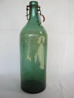 Címeres Harmatvíz csatos zöld üveg