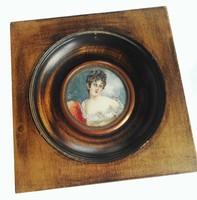 Régi francia miniatúra arckép, portré, Mme Recamier