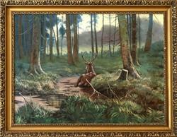 KEDVEZŐ ÁR! Erdő mélyén című olaj vászon festmény, VISSZAVÁSÁRLÁSI GRANCIÁVAL!