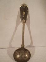 Fém - antik - alpakka - mártásos kanál - 19 x 6 x 3 cm